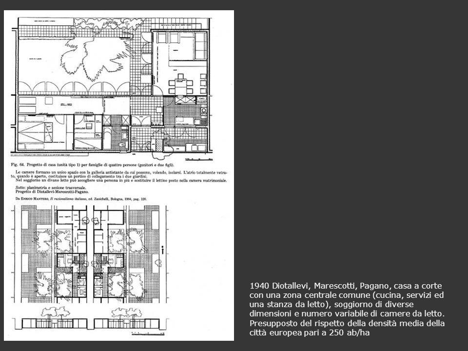 1940 Diotallevi, Marescotti, Pagano, casa a corte con una zona centrale comune (cucina, servizi ed una stanza da letto), soggiorno di diverse dimensioni e numero variabile di camere da letto.