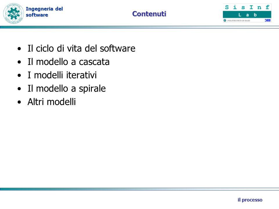 Il ciclo di vita del software Il modello a cascata I modelli iterativi