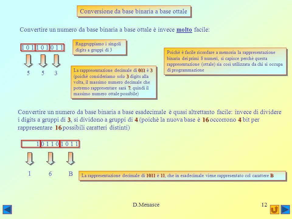 Conversione da base binaria a base ottale