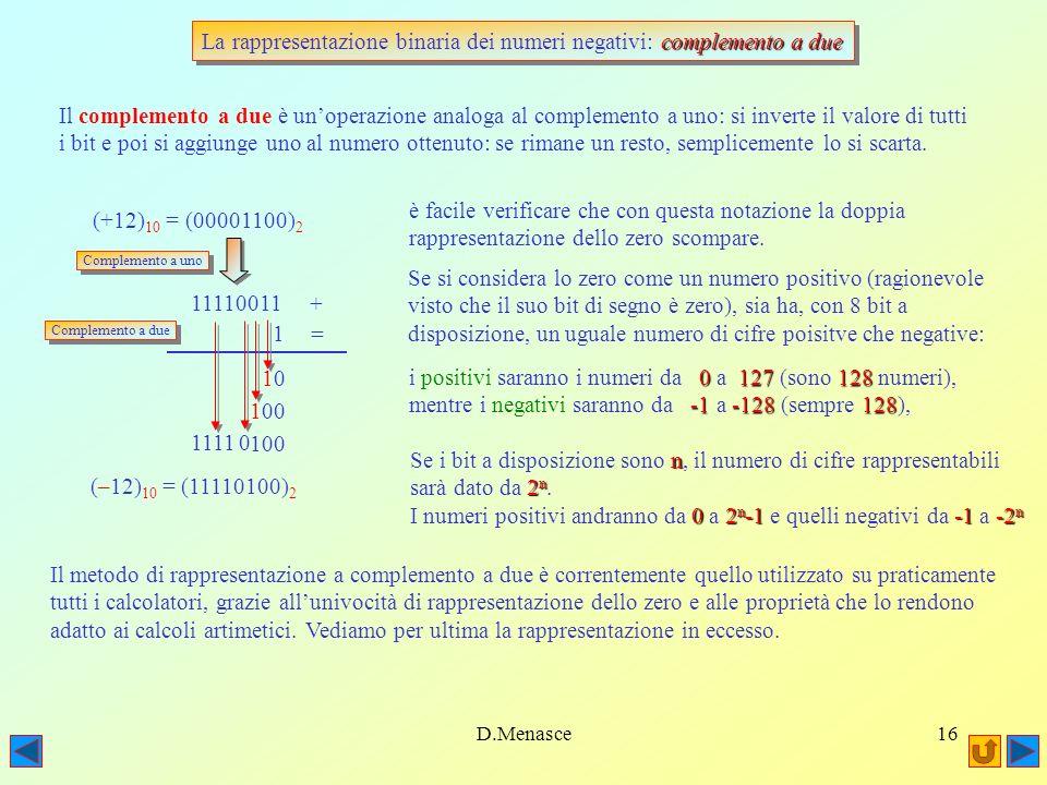 La rappresentazione binaria dei numeri negativi: complemento a due