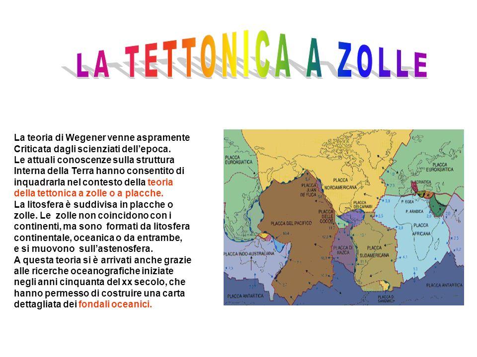 LA TETTONICA A ZOLLE La teoria di Wegener venne aspramente