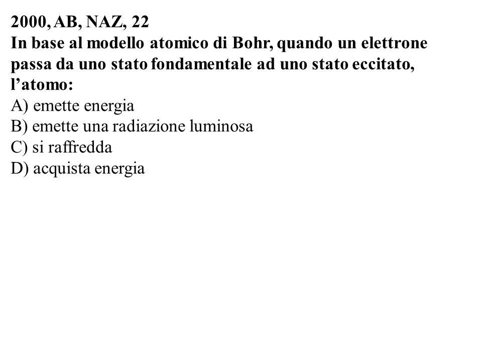 2000, AB, NAZ, 22 In base al modello atomico di Bohr, quando un elettrone passa da uno stato fondamentale ad uno stato eccitato, l'atomo: