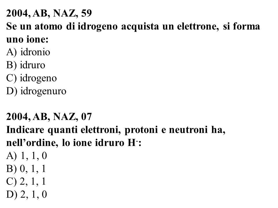 2004, AB, NAZ, 59 Se un atomo di idrogeno acquista un elettrone, si forma uno ione: A) idronio. B) idruro.
