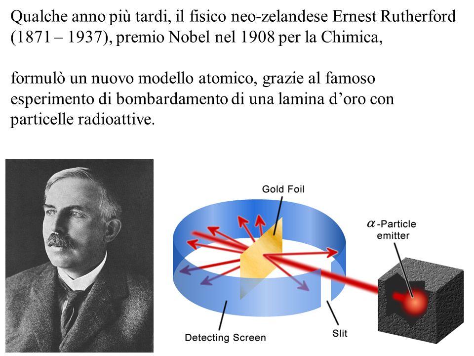 Qualche anno più tardi, il fisico neo-zelandese Ernest Rutherford (1871 – 1937), premio Nobel nel 1908 per la Chimica,
