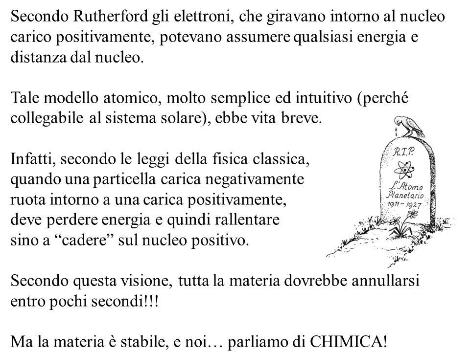 Secondo Rutherford gli elettroni, che giravano intorno al nucleo carico positivamente, potevano assumere qualsiasi energia e distanza dal nucleo.