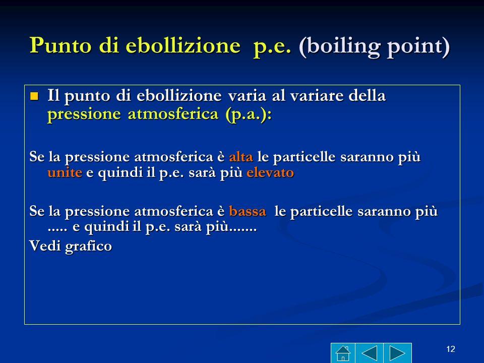 Punto di ebollizione p.e. (boiling point)