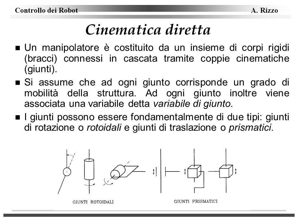 Cinematica diretta Un manipolatore è costituito da un insieme di corpi rigidi (bracci) connessi in cascata tramite coppie cinematiche (giunti).