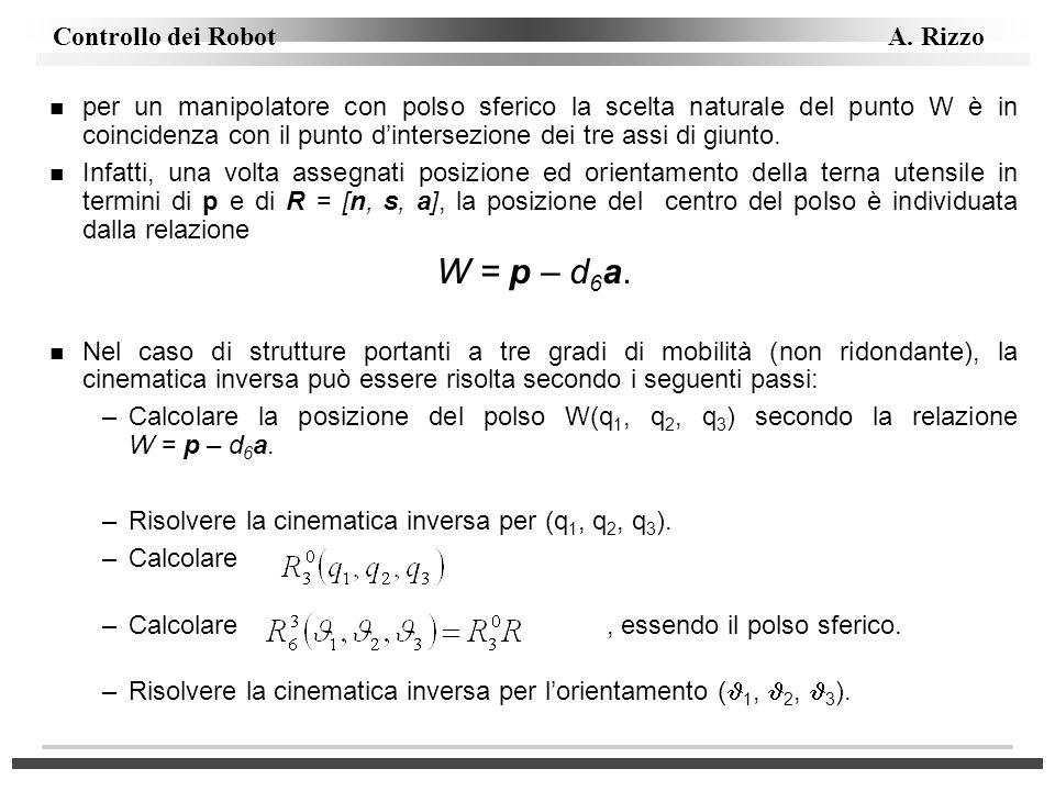 per un manipolatore con polso sferico la scelta naturale del punto W è in coincidenza con il punto d'intersezione dei tre assi di giunto.