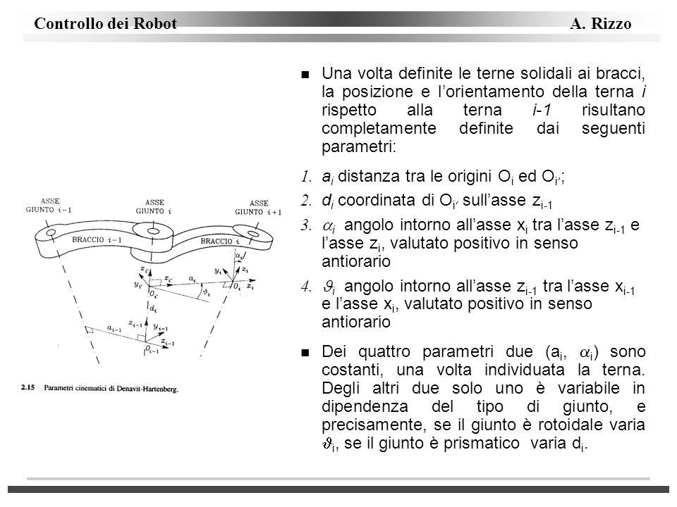 Una volta definite le terne solidali ai bracci, la posizione e l'orientamento della terna i rispetto alla terna i-1 risultano completamente definite dai seguenti parametri: