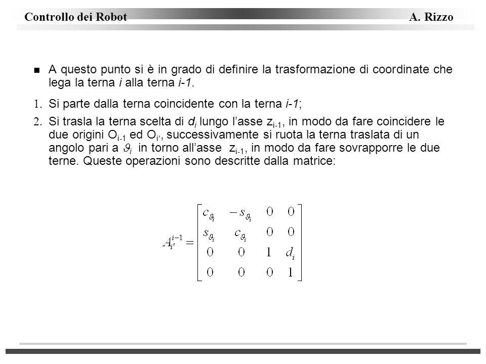 A questo punto si è in grado di definire la trasformazione di coordinate che lega la terna i alla terna i-1.