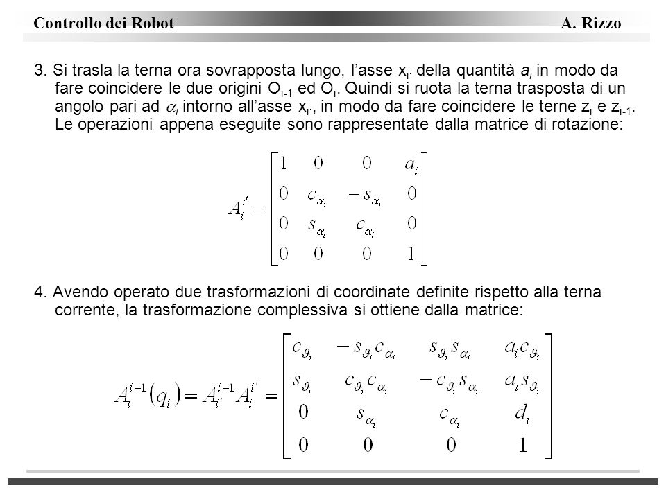 3. Si trasla la terna ora sovrapposta lungo, l'asse xi della quantità ai in modo da fare coincidere le due origini Oi-1 ed Oi. Quindi si ruota la terna trasposta di un angolo pari ad i intorno all'asse xi, in modo da fare coincidere le terne zi e zi-1. Le operazioni appena eseguite sono rappresentate dalla matrice di rotazione: