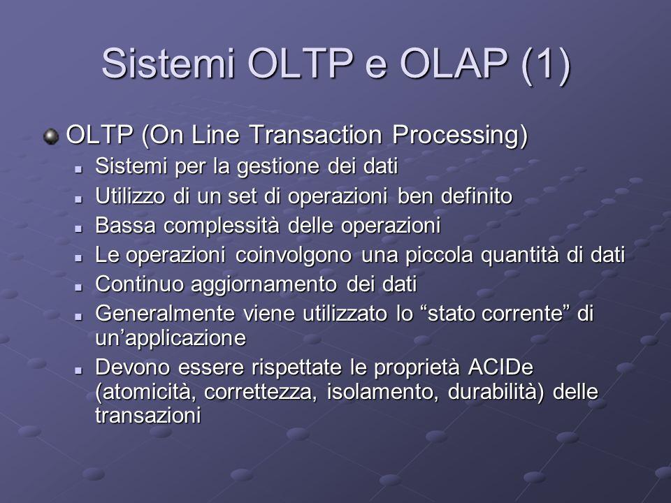 Sistemi OLTP e OLAP (1) OLTP (On Line Transaction Processing)