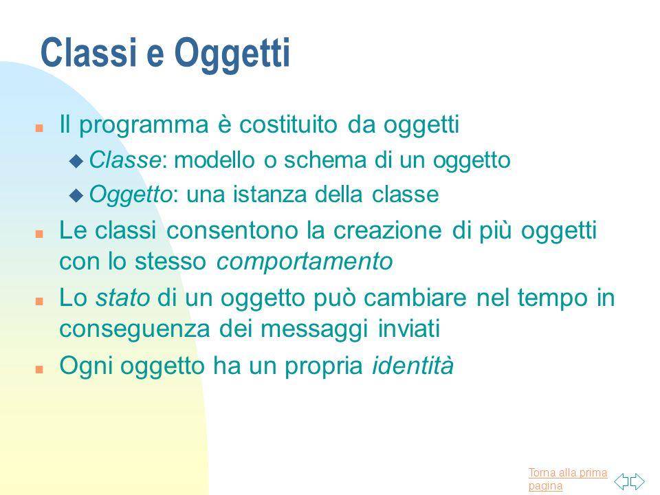 Classi e Oggetti Il programma è costituito da oggetti