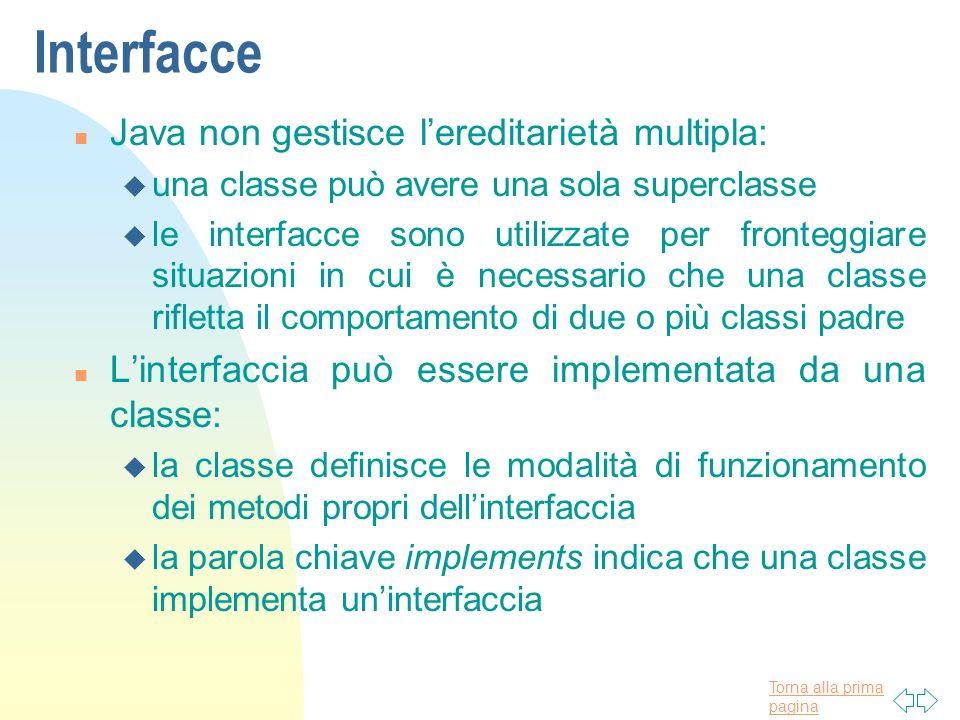 Interfacce Java non gestisce l'ereditarietà multipla: