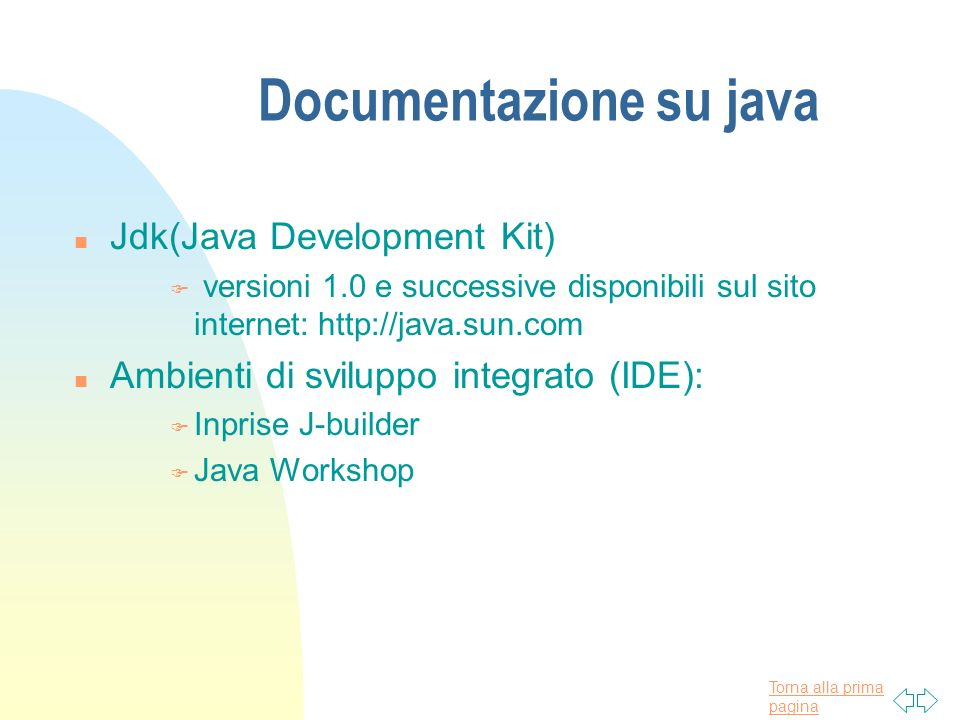 Documentazione su java
