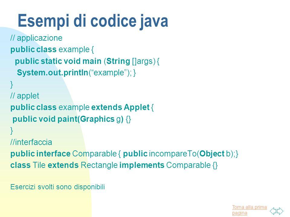 Esempi di codice java // applicazione public class example {