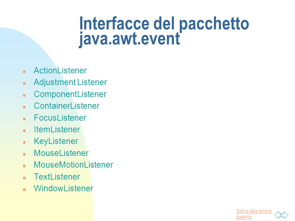 Interfacce del pacchetto java.awt.event