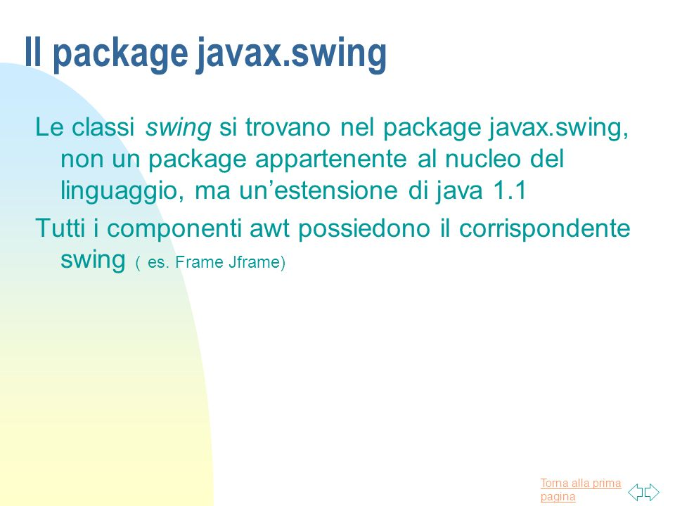 Il package javax.swing
