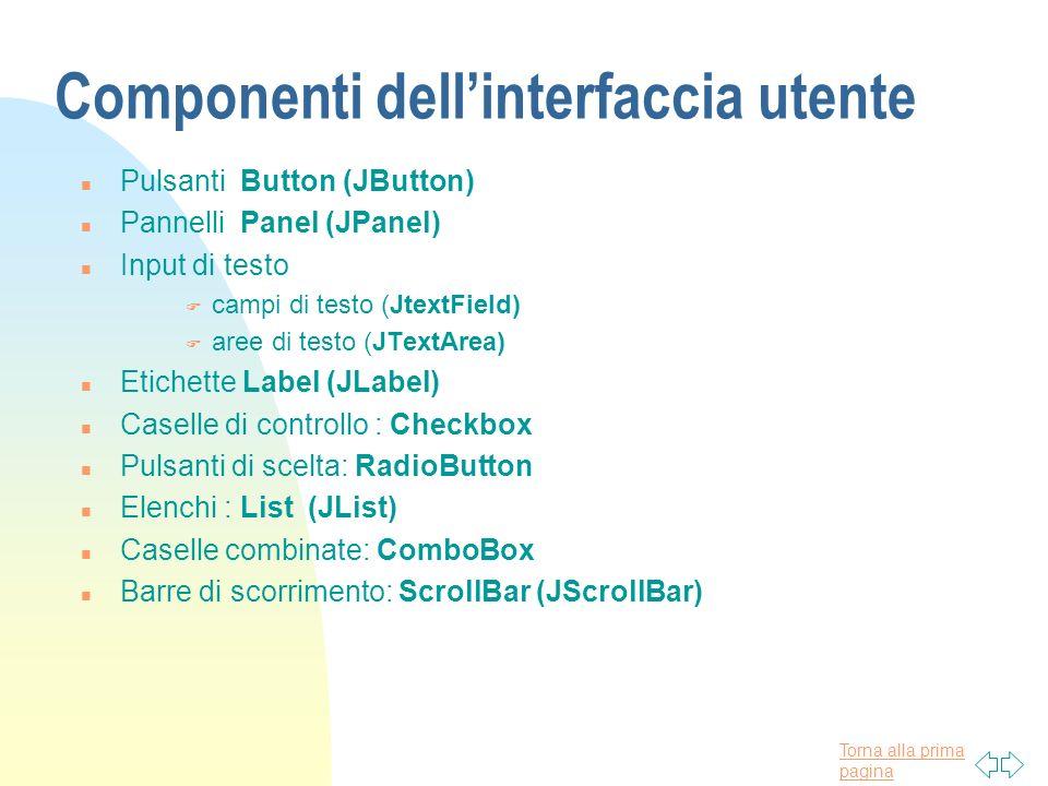 Componenti dell'interfaccia utente