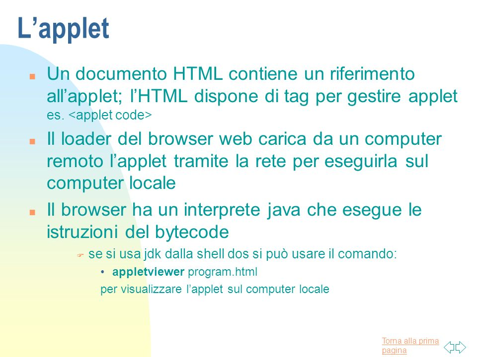L'applet Un documento HTML contiene un riferimento all'applet; l'HTML dispone di tag per gestire applet es. <applet code>
