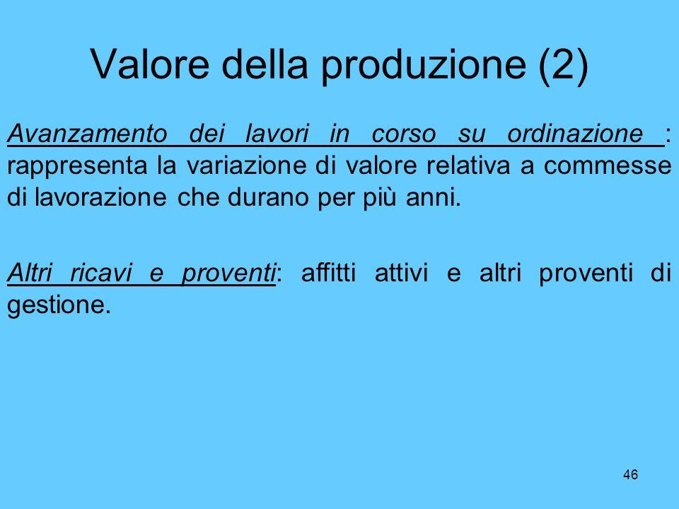 Valore della produzione (2)