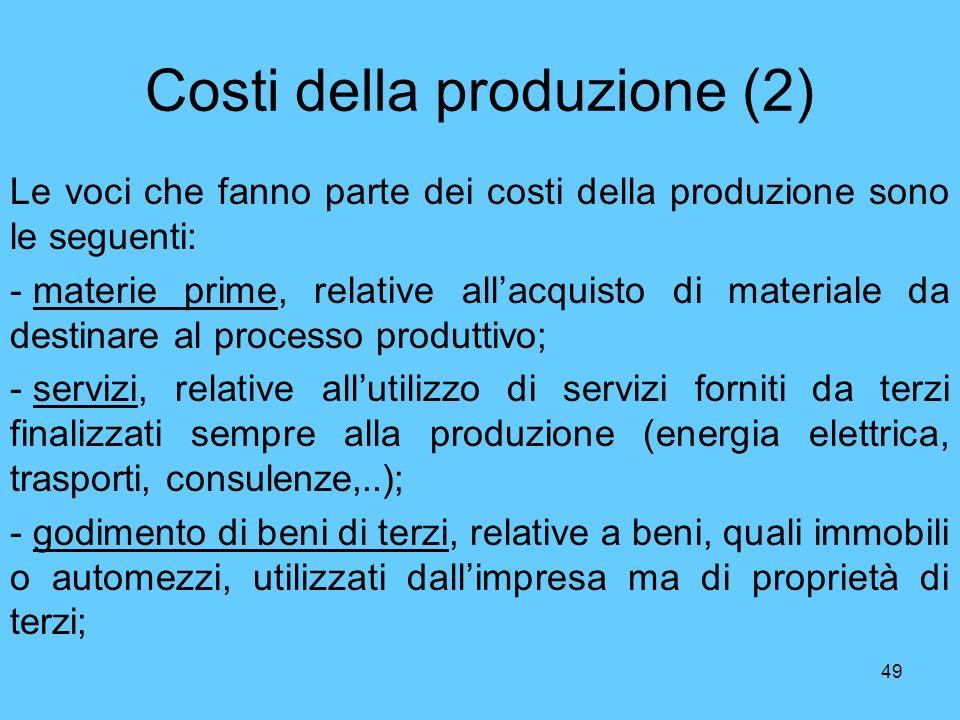 Costi della produzione (2)