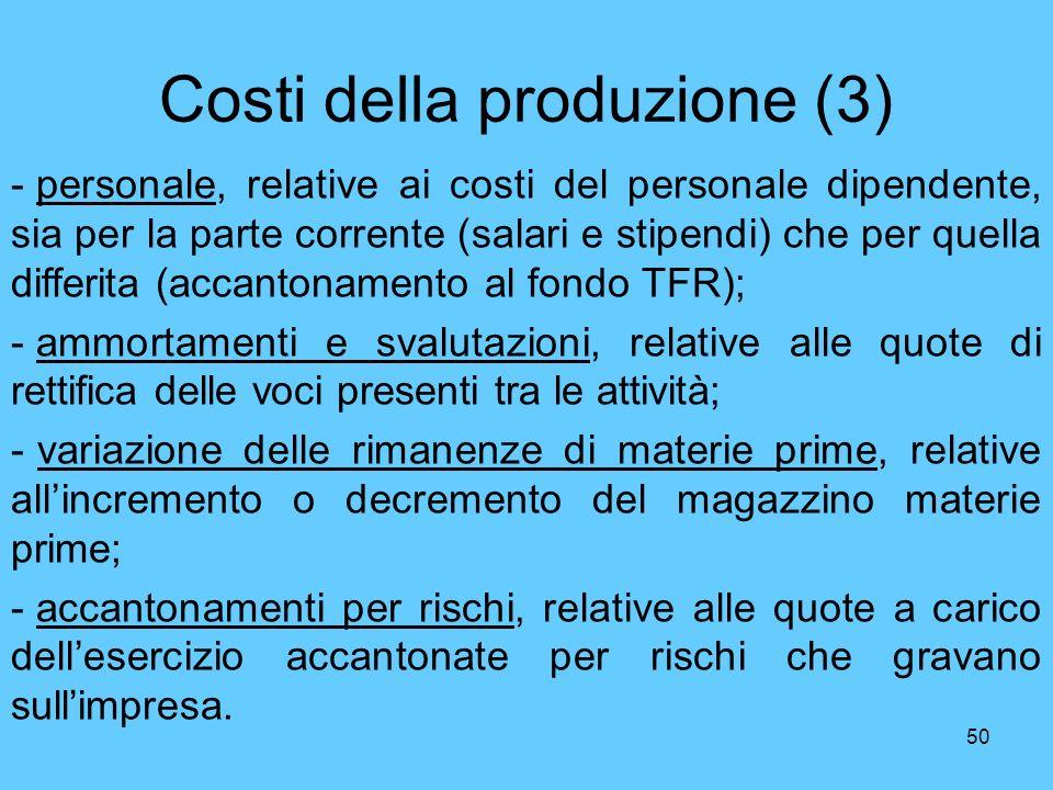Costi della produzione (3)