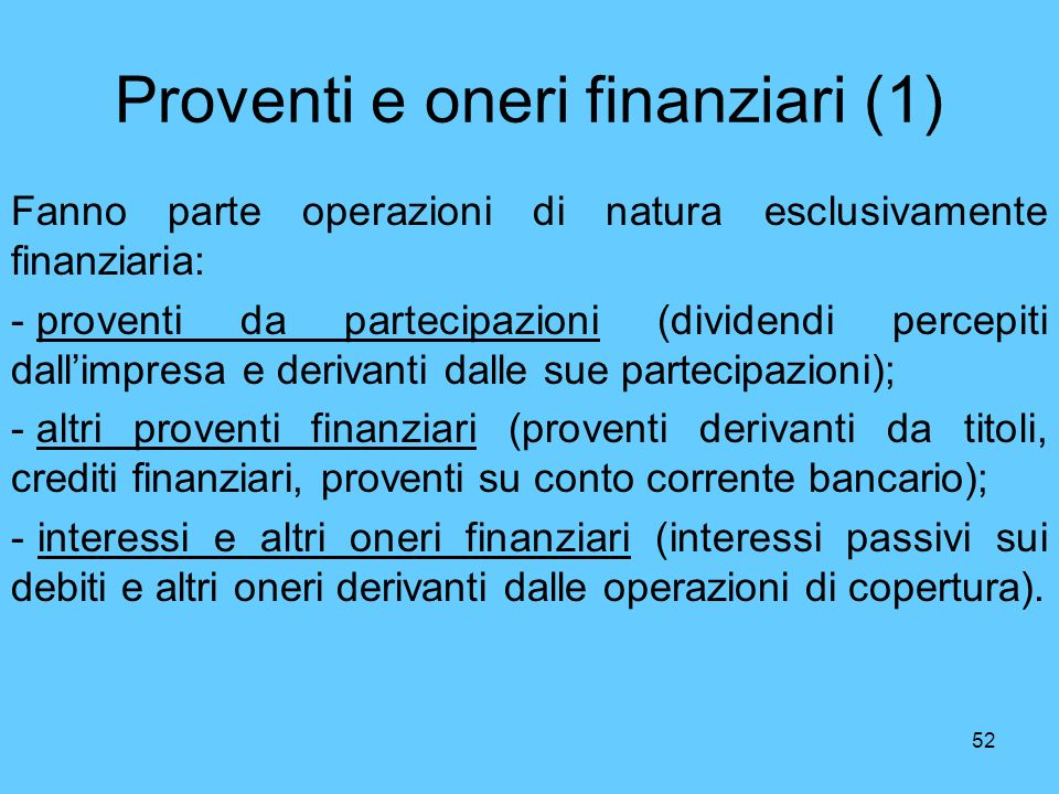 Proventi e oneri finanziari (1)
