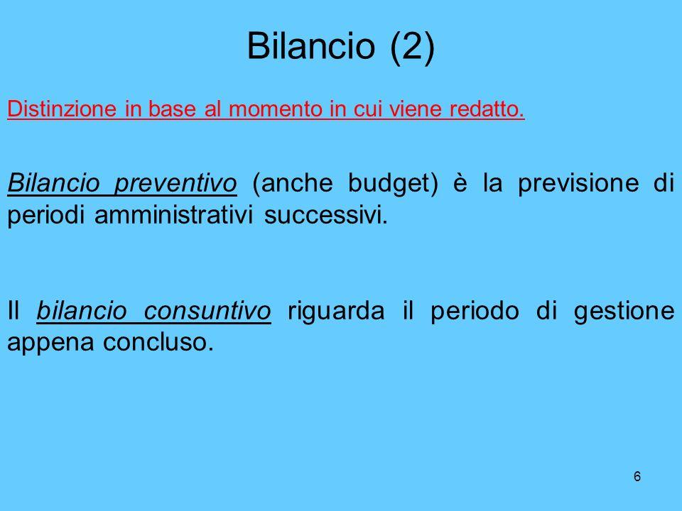 Bilancio (2) Distinzione in base al momento in cui viene redatto.