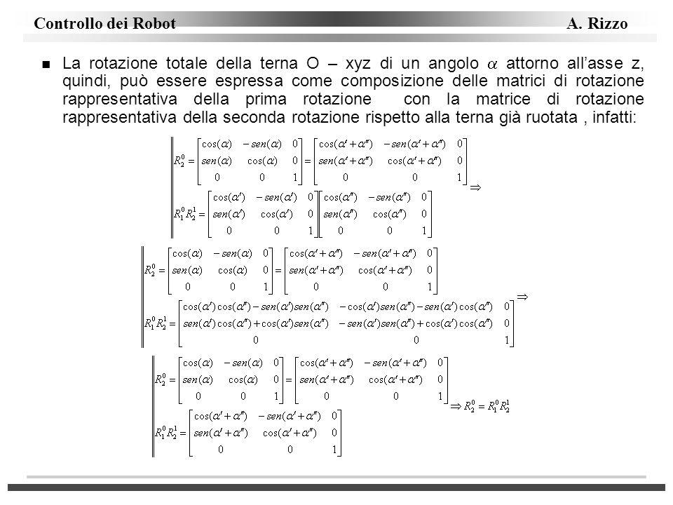 La rotazione totale della terna O – xyz di un angolo  attorno all'asse z, quindi, può essere espressa come composizione delle matrici di rotazione rappresentativa della prima rotazione con la matrice di rotazione rappresentativa della seconda rotazione rispetto alla terna già ruotata , infatti:
