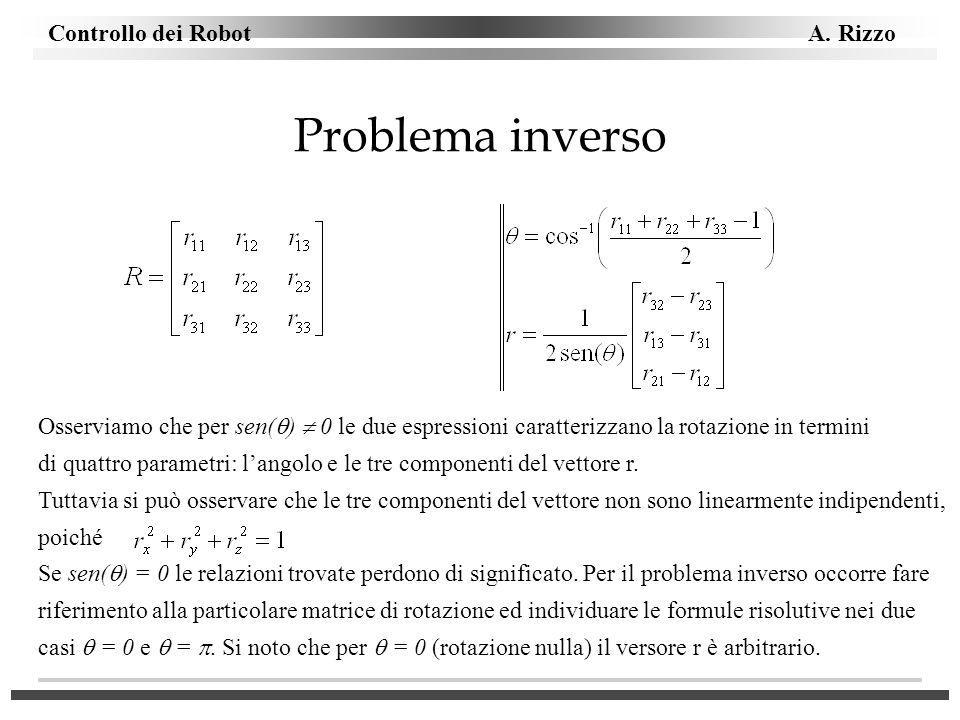 Problema inverso Osserviamo che per sen()  0 le due espressioni caratterizzano la rotazione in termini.