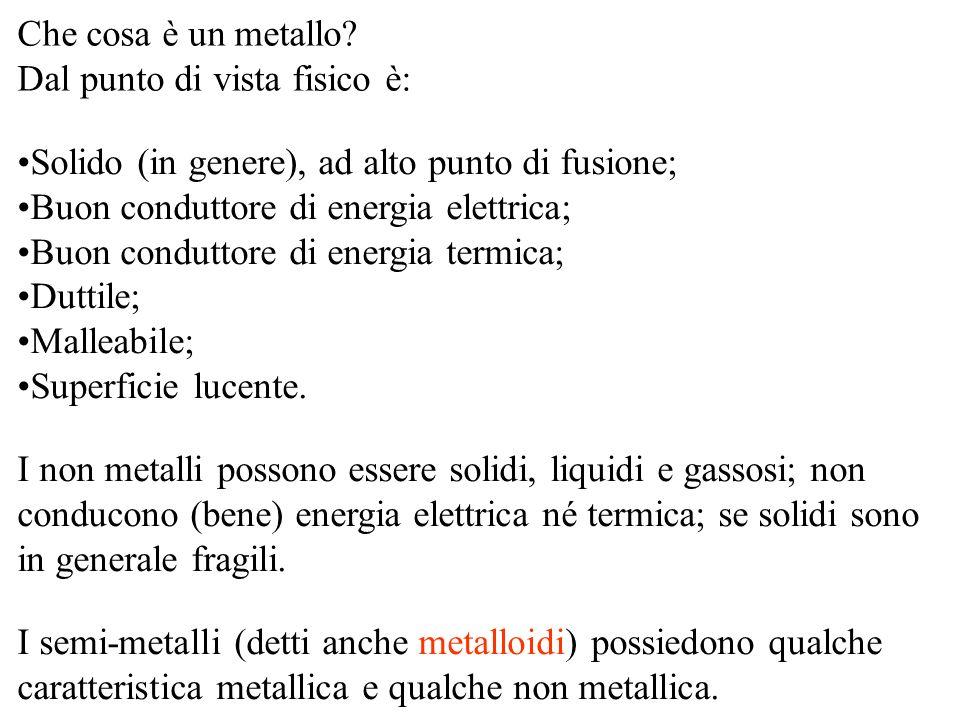 Che cosa è un metallo Dal punto di vista fisico è: Solido (in genere), ad alto punto di fusione; Buon conduttore di energia elettrica;