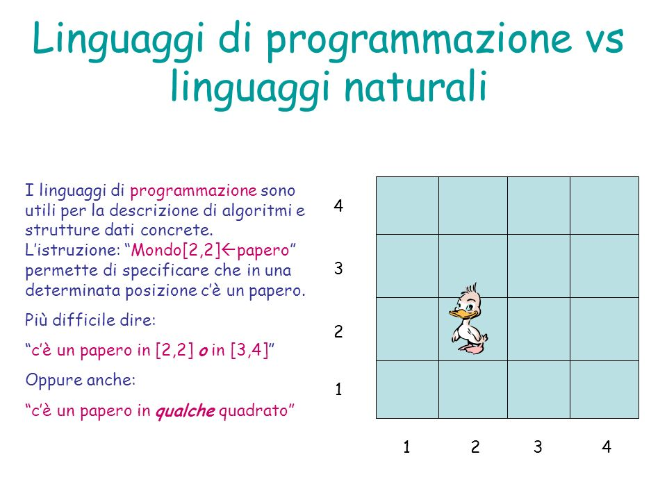 Linguaggi di programmazione vs linguaggi naturali