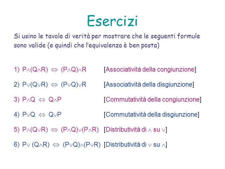 EserciziSi usino le tavole di verità per mostrare che le seguenti formule. sono valide (e quindi che l'equivalenza è ben posta)