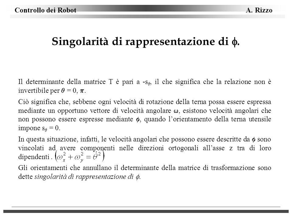 Singolarità di rappresentazione di .