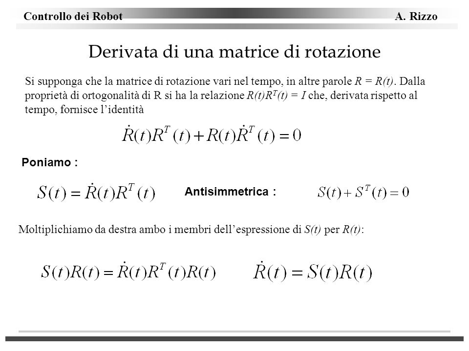 Derivata di una matrice di rotazione