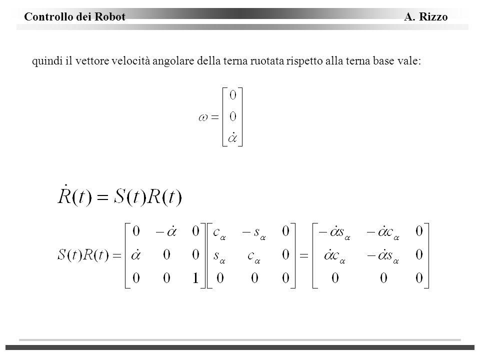 quindi il vettore velocità angolare della terna ruotata rispetto alla terna base vale: