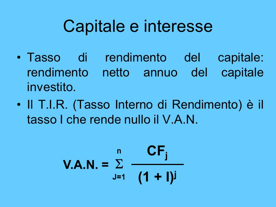 Capitale e interesse CFj S (1 + I)j