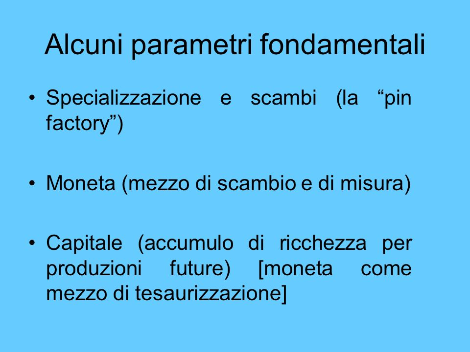 Alcuni parametri fondamentali