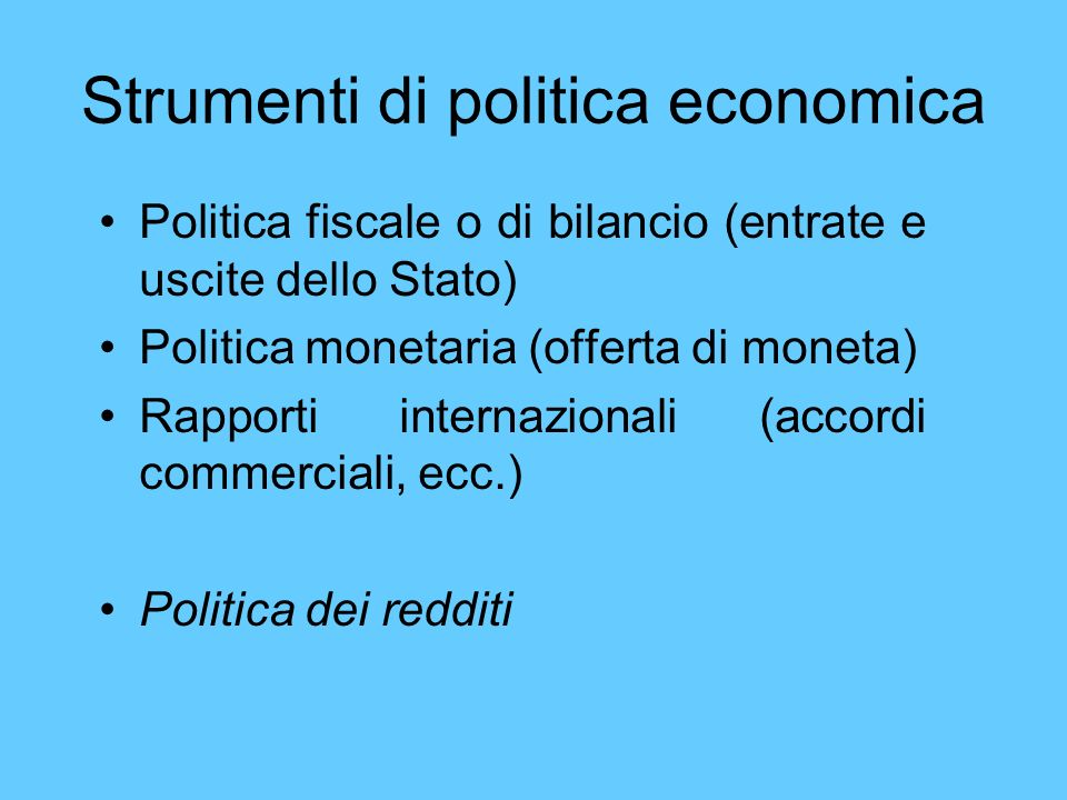 Strumenti di politica economica