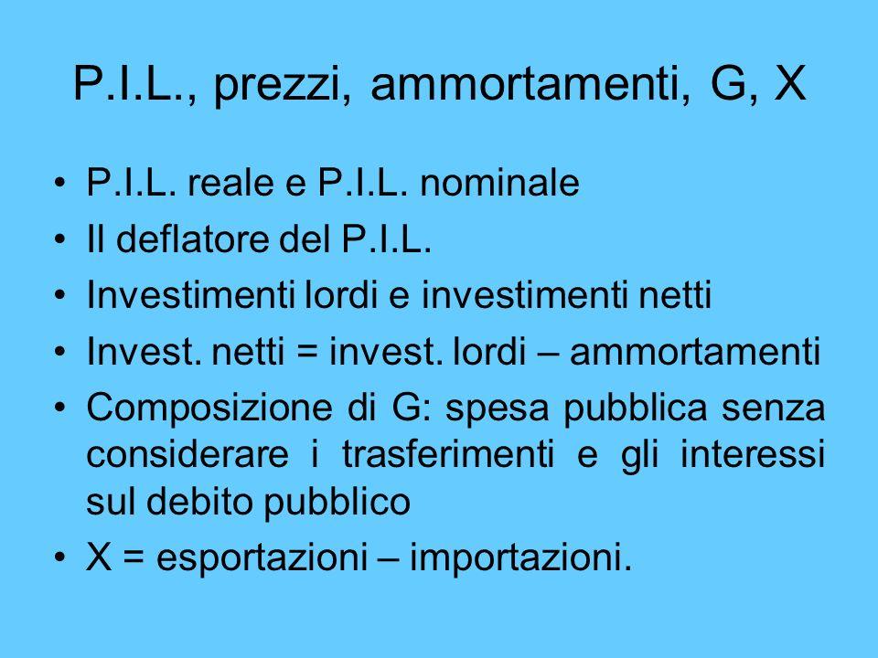 P.I.L., prezzi, ammortamenti, G, X