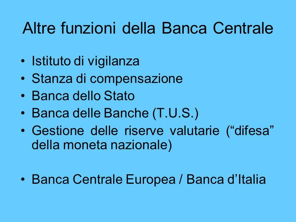Altre funzioni della Banca Centrale