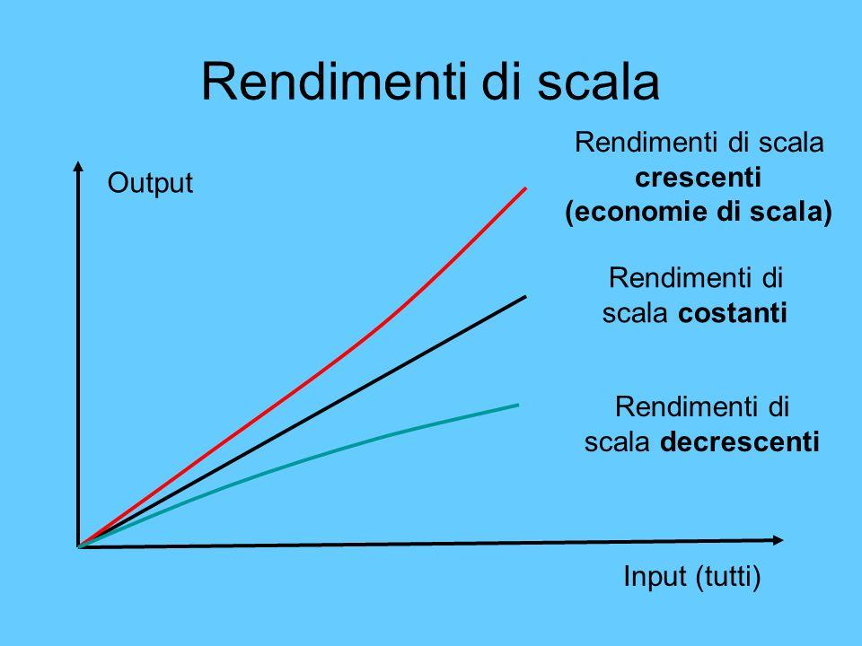 Rendimenti di scala Rendimenti di scala crescenti (economie di scala)