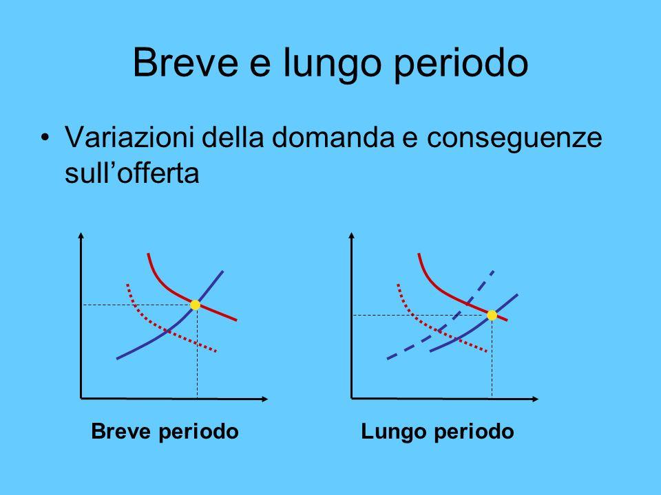 Breve e lungo periodo Variazioni della domanda e conseguenze sull'offerta.