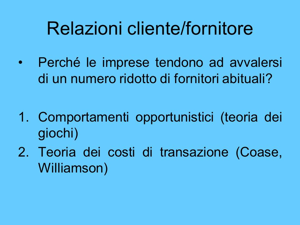 Relazioni cliente/fornitore