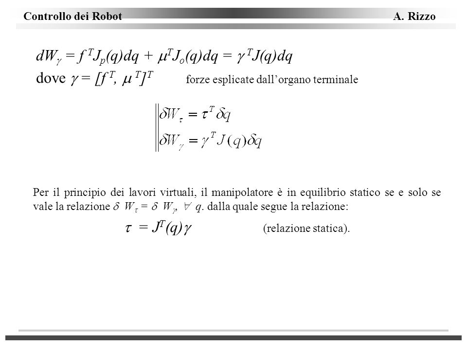  = JT(q) (relazione statica).