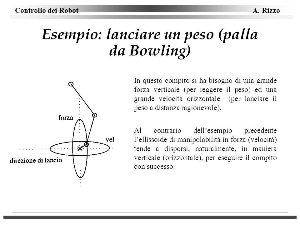 Esempio: lanciare un peso (palla da Bowling)