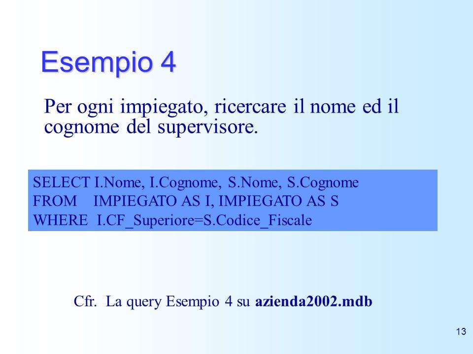 Esempio 4 Per ogni impiegato, ricercare il nome ed il cognome del supervisore. SELECT I.Nome, I.Cognome, S.Nome, S.Cognome.