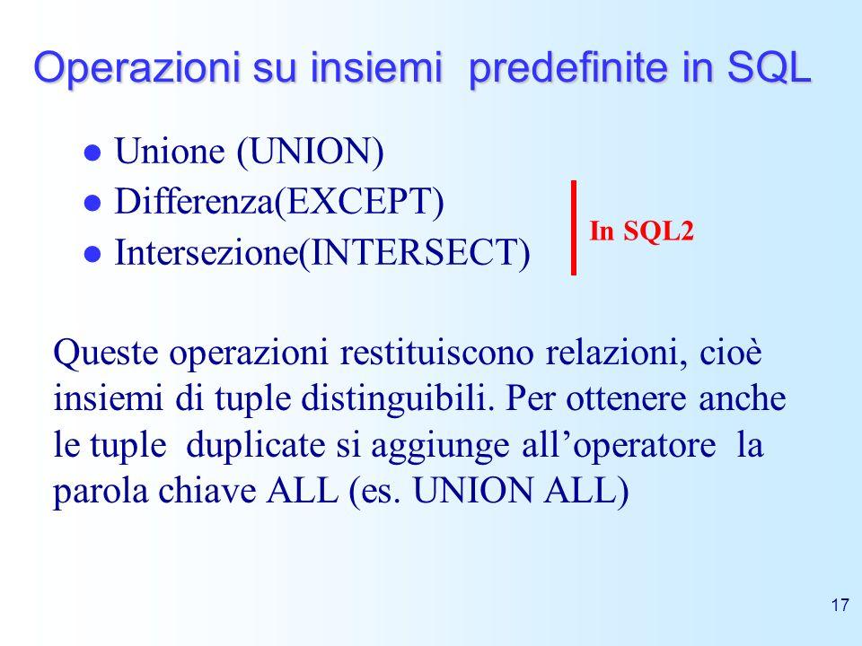 Operazioni su insiemi predefinite in SQL
