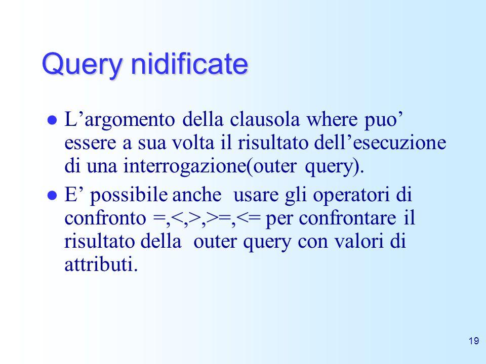 Query nidificate L'argomento della clausola where puo' essere a sua volta il risultato dell'esecuzione di una interrogazione(outer query).